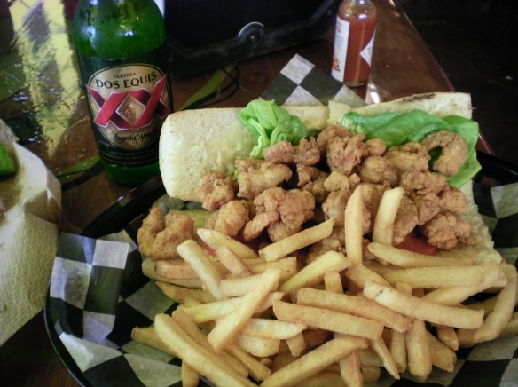 Twice fried shrimp Po boy