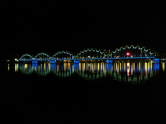 "Bridge lights during the ""Balta Nakts"" Riga, Latvia."