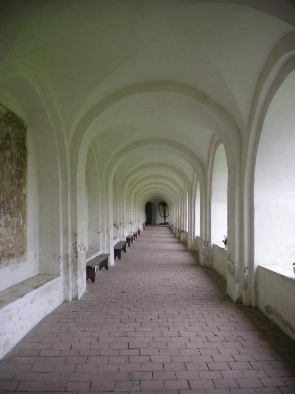 Long corridors of the Catholic monastery in Tytuvenai. There were speakers at the end of each hall that played personal prayers in Lithuanian