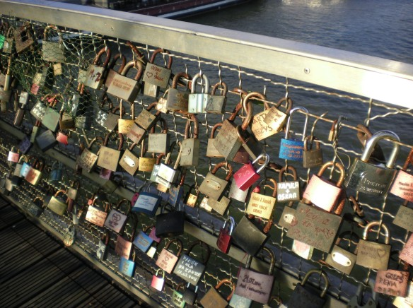 Locks of love, pedestrian bridge Krakow