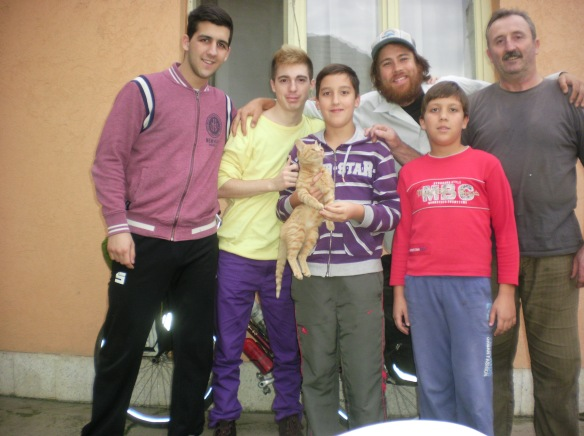 My friends and Marko the kitten in Zabalj, Serbia