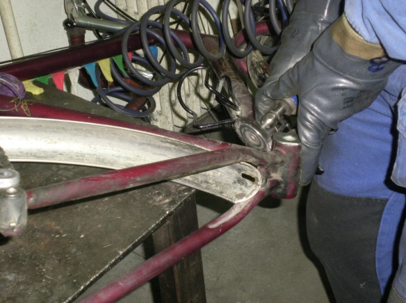 Paint in removed, and frame is prepped for welding