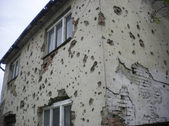 Many of the houses in the city of Vukowar, Croatia are left as a reminder of the Serbian-Croatian war.