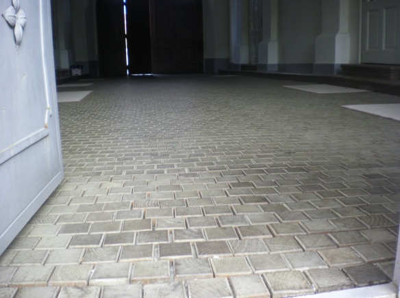 Wooden tiles line the floor of this Catholic monastery