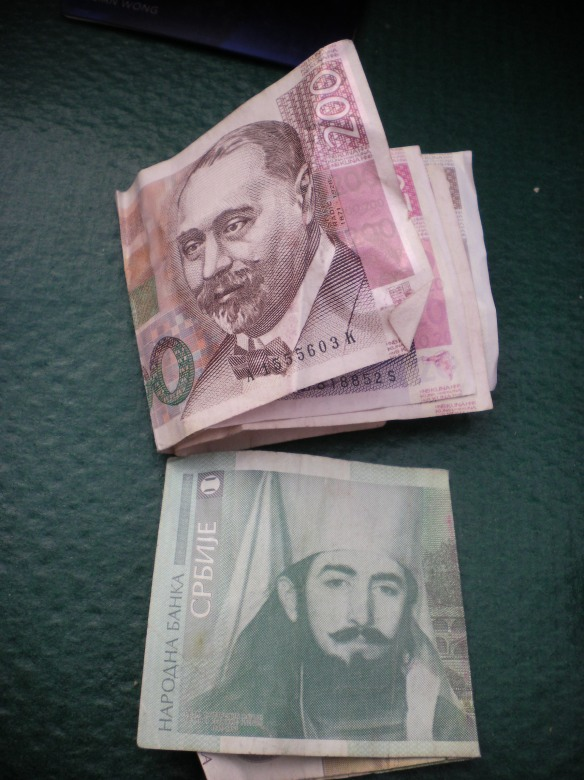 Difference in culture between Croatia and Serbia is apparent when looking at the currency. Top is Croatian Kuna