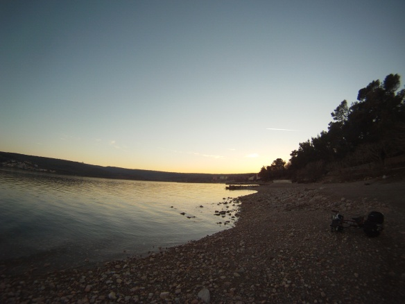 Sunset beach lounging