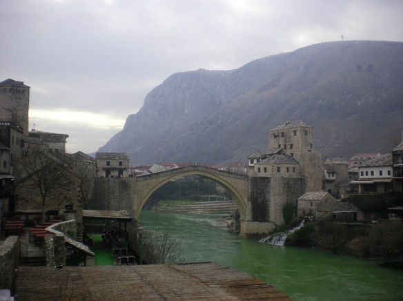 Historic Mostar bridge separates the Catholic side of the city from Muslim