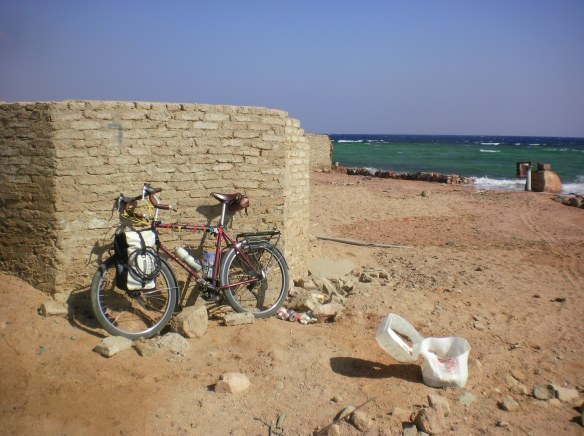 A secret local Sharm beach full of trash and dumped construction supplies