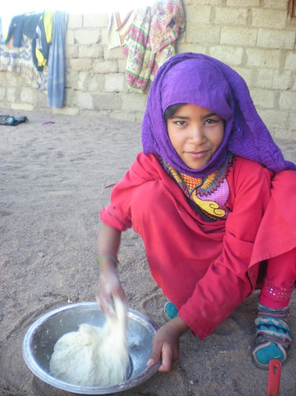 Bedouin girl makes me Farasee, thin tortilla like bread