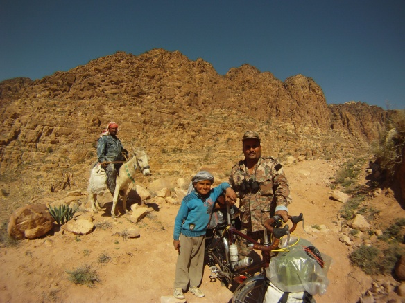 Locals on the trail to Feynan village, Central Jordan.
