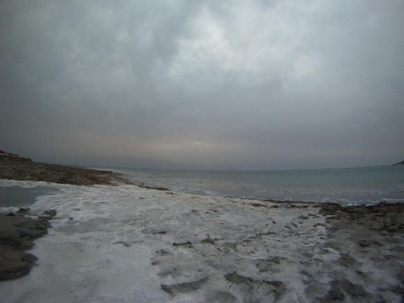 Salt beaches on the Dead Sea