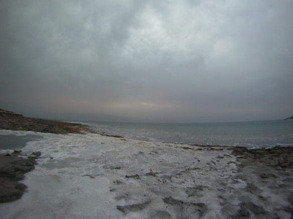 Salt beaches on the Dead Sea