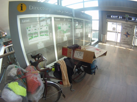 It is possible to get to the airport with a box under pedal power, even in Tel Aviv