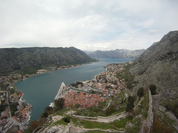 The city of Kotor, trapped within a huge bay