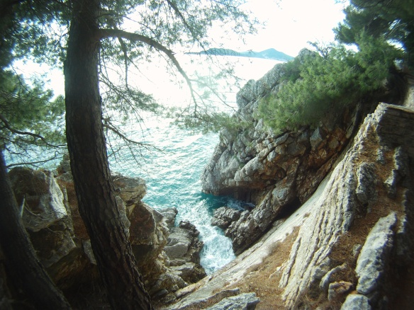 The rocky coast of Montenegro. In the summer you can swim in 60 degree waters and view snow capped mountains