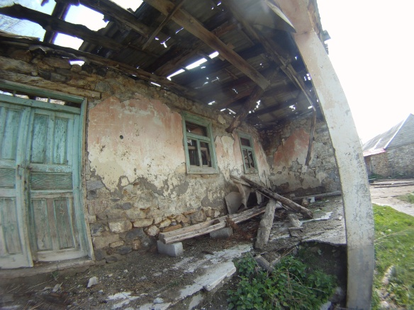 Old war torn buildings in villages of southern Kosovo