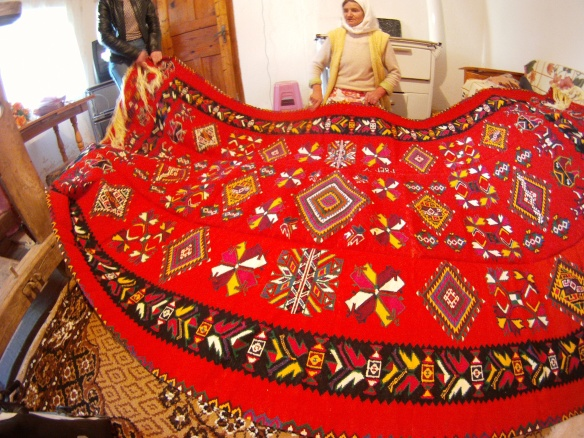 Mothers hand quilted Albanian rug