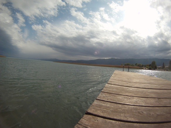 A few minutes of sun on the boardwalk in Struga