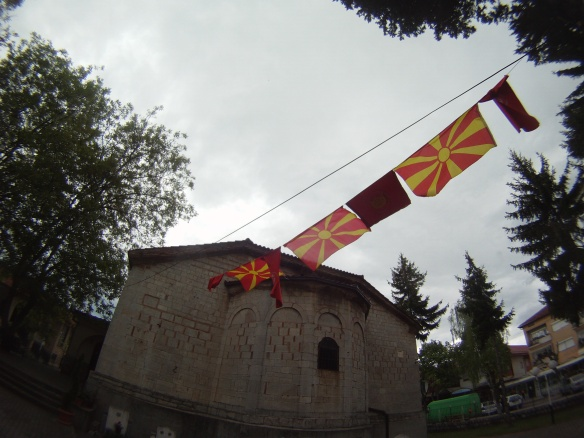 Macedonian flags outside the Orthodox Church