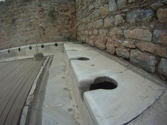First invented none squatting toilet, Ephesus