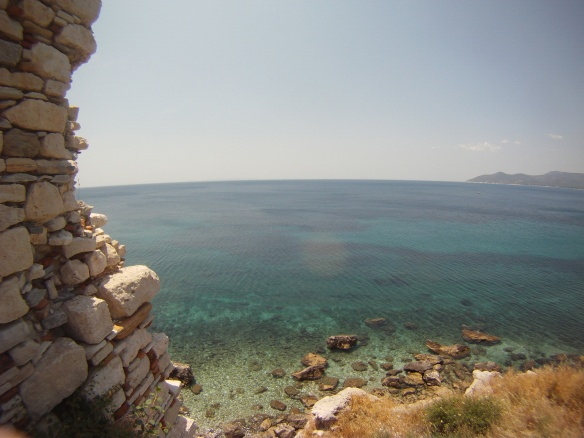 Ancient Greek ruins and Aegean coast line