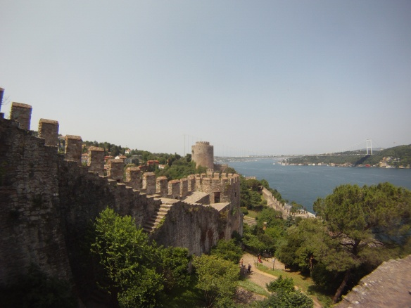Fortress walls from Rumeli Hissara, these this fortress was built to stop ships from supplying Constantinople.