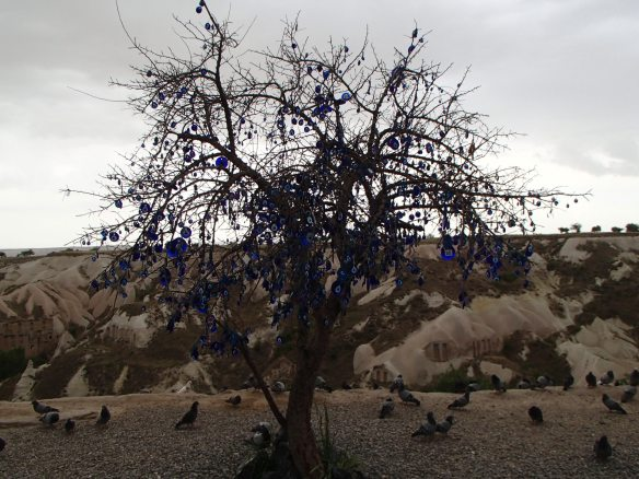 "Turkish tree full of ""evil eyes""  originally used to ward off the Crusaders"