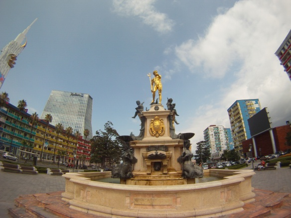 Water fountain in town square of Batumi