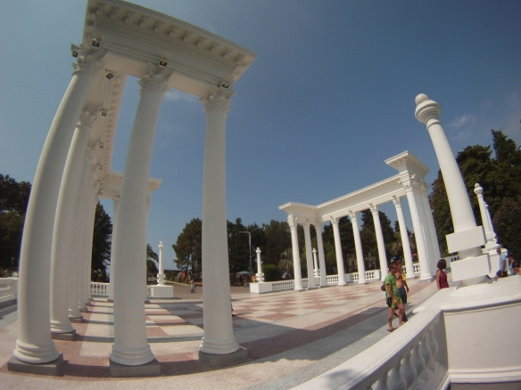 Greek columns decorate the town promenade