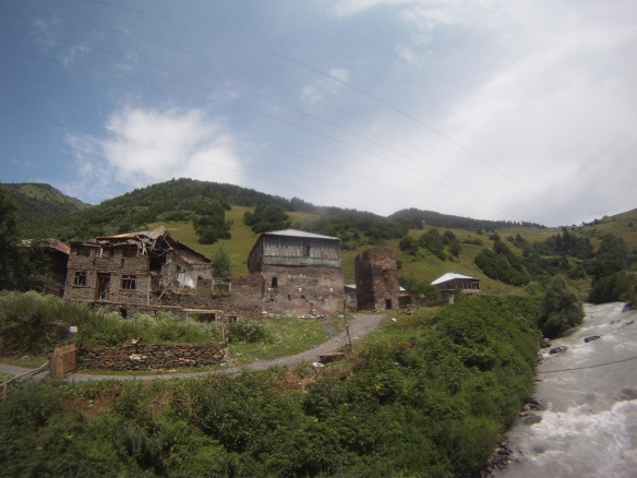 Small cobblestone built villages in Svaneti