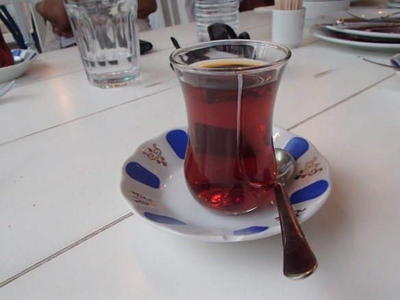 Local Turkish tea, served in its traditional glass and saucer. One great thing about Ramadan is that restaurants don't bother you to order food, you can actually rest in one and order nothing