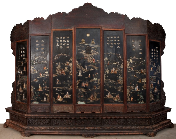 Qing Screen depicting Chinese countryside