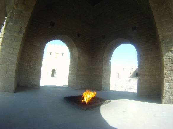 A tribute to the everlasting flames that were once worshiped here. In the early 1900's Azerbaijan learned that money could be made from their natural gas source, the true life and flames of the temple never returned