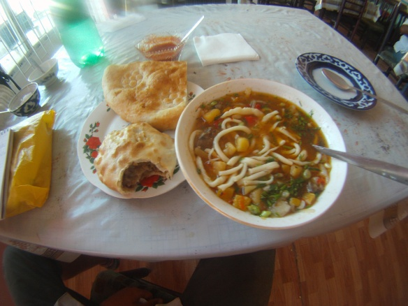 Local Uzbek cuisine: Lagman (Lamb noodle soup), Somsa (Lamb filled pastry) and naan