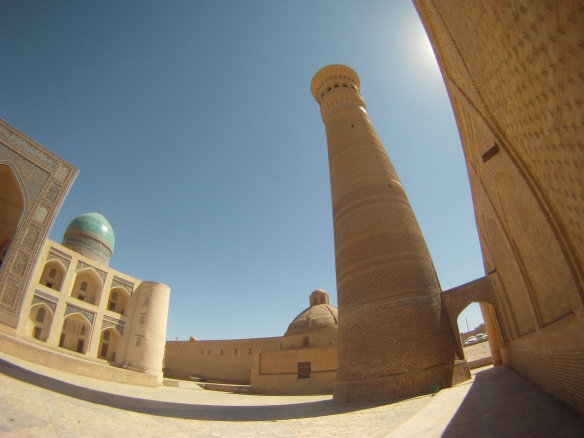 Minaret in the silk road city of Bukhara