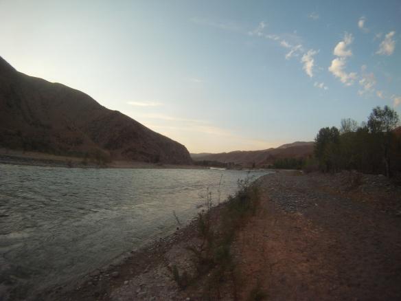 Lower elevation river campsite