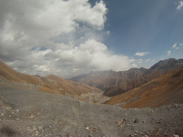 Looking down from the highest pass 3,600 meters