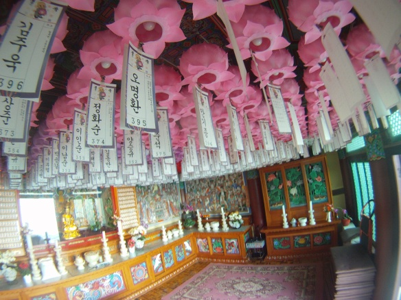 Donations hanging in a southern Buddhist temple