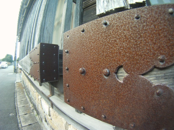 Old iron hardware outside ancient house of Samurai, Hagi