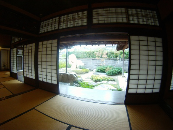 Screened entrance in traditional Japanese house, Hagi