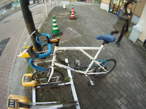 These bicycles are extremely popular in Japan, its the size of a folding bike but doesn't fold