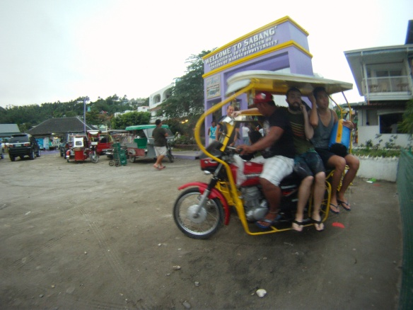 A crew of 6 divers on a tricycle