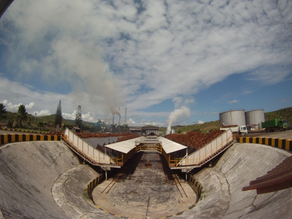 Local Sawit factory, the fruit is steamed and refined into large tanks of oil then trucked to the port of Tawau or Kota Kinabalu for export