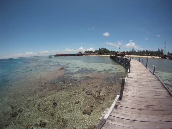 Arriving at the Derawan pier