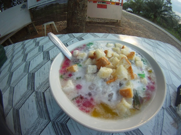 Es Campur, Indonesian roadside desert. Ice, tapioca, coconut milk, fruit and bread