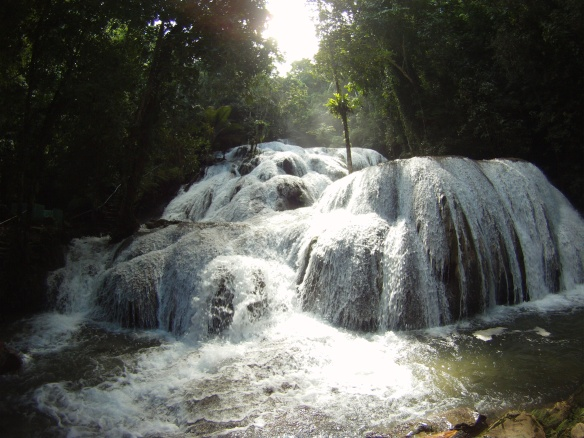 Slippery slides, local waterfall near Poso lake