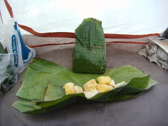 Fermented Cassava, sold in banana leafs