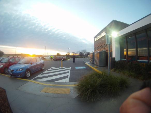 Maccas sunrise. A freezing cold morning but I have never been happier to be at McDonalds!
