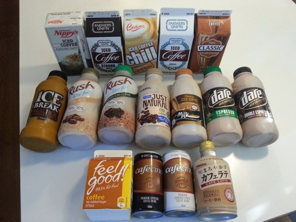 The never ending variety of commercially available Aussie Iced Coffee's. Most of them are too milky and sweet with little taste of coffee.