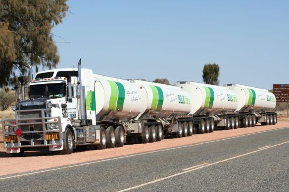 Road train drivers, stop for no one. They even take short cuts on the back roads, sometimes on single lane hwys.